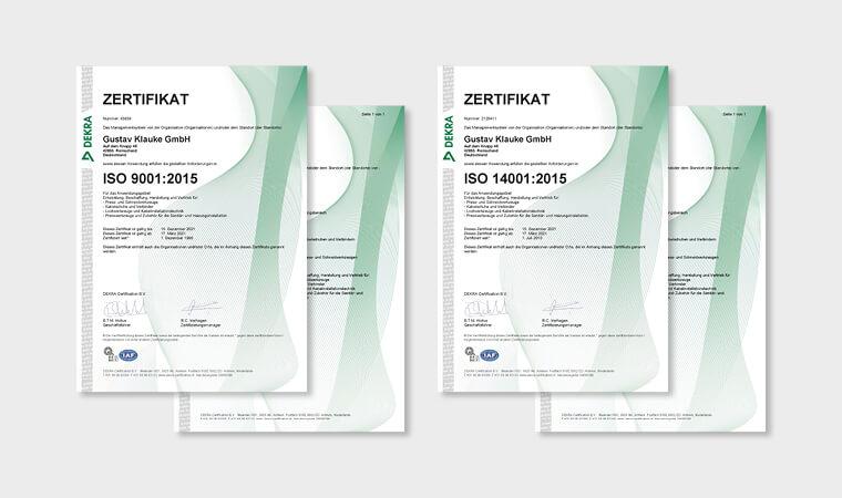 Klauke ist ISO zertifiziert