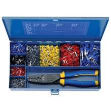 =Steel assortment box with insulated cable end sleeves and crimping tool