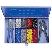 Steel assortment box with insulated cable end sleeves and tools
