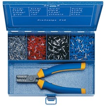 Steel assortment box with insulated cable end sleeves and crimping tool