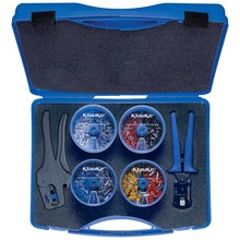 Plastic assortment box with insulated cable end sleeves and tools