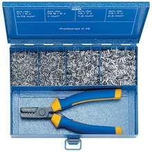 Steel assortment box with cable end sleeves and crimping tool